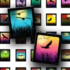 Digital Images Collage Sheet Mini Landscapes Birds Crows Sunrise Nature Sunset .75 x .873 Inch for Scrabble Tile Pendants Crafts (S93)