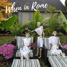 The Skeletons needed to relax today after a weekend of hard labour. They decided… 'When in Rome, do as the Romans do'! Stratford Ontario, Cool Halloween Costumes, Romans, Hilarious, Funny, Relax, Table Decorations, Skeletons, Hilarious Stuff