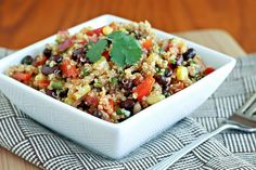 Southwest quinoa salad... very similar to a salad I just made, but I used a simpler dressing (oil, lime, salt, cumin, ancho).