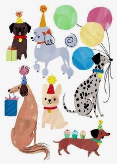 Advocate-Art illustration and publishing agency bday en 2019 happy birthday Party Animals, Animal Party, Birthday Greetings, Birthday Cards, Birthday Parties, Happy Birthday Illustration, Puppy Birthday, Happy Birthday Dog, Birthday Wallpaper