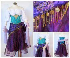 Esmeralda Cosplay Costume by glimmerwood on DeviantArt Megara Cosplay, Esmeralda Cosplay, Disney Cosplay, Disney Costumes, Disney Outfits, Cosplay Diy, Halloween Cosplay, Halloween Costumes, Halloween Ideas