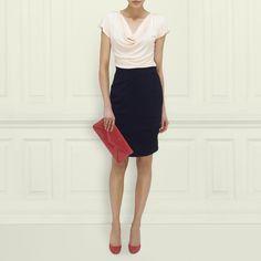 LK Bennett Mandi cowl neck top with Vally wool pencil skirt