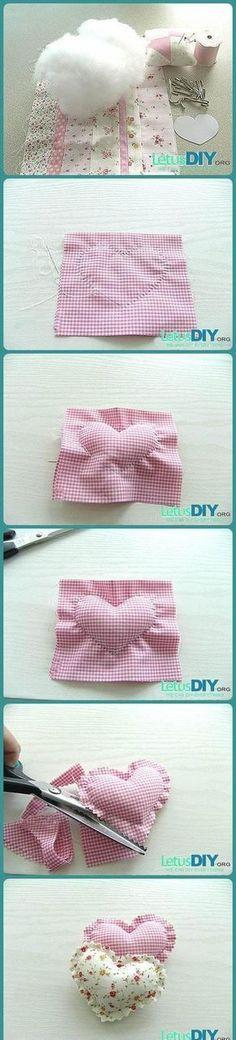 Come realizzare dei cuscinetti shabby a forma di cuore e profumati