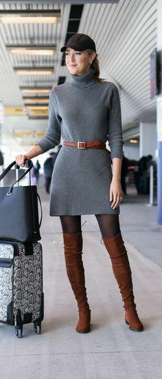 grey ribbed turtleneck sweater dress, brown braid belt, stuart weitzman brown over-the-knee lowland boots, black baseball cap