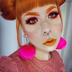 Mixed some yellow into my hair dye and now I'm a pumpkin princess  Lips are Squash by @limecrimemakeup // wearing She-Devil lashes by @blackmagiclashes // #makeup #makeupartist #fotd #selfie #instagood #instamakeup #instadaily #picoftheday #photooftheday #freckles #fauxfreckles #redhead #ginger #piercings #limecrime #limecrimemakeup #autumn