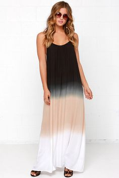 Three-Tone Three-Tune Black Maxi Dress at Lulus.com!  **note to self....pay attn to how low under the arms and in the back.  Would have to wear something underneath.