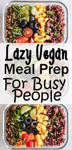Easy vegan meal prep ideas easy to cook and delicious to eat. Whether you are looking for meal prep for beginners or for weight loss everyone will love these recipes for breakfast lunch dinner dessert & snacks! Easy Vegan Lunch, Vegan Potluck, Quick Vegan Meals, Vegetarian Meal Prep, Vegan Recipes Beginner, Vegan Meal Plans, Vegan Dinners, Easy Meals, Dinner Healthy