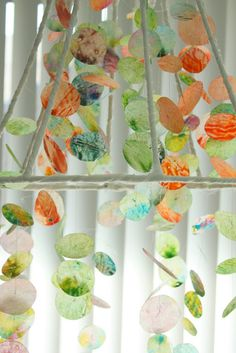 Crayon and wax paper.  Now I know what to do with my extra lamp shades!!