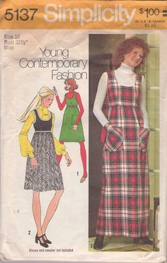 MOMSPatterns Vintage Sewing Patterns - Simplicity 5137 Vintage 70's Sewing Pattern DARLING Mod Young Contemporary Fashion Scoop Neck Contrast High Waist Smock Jumper, Twiggy Dress