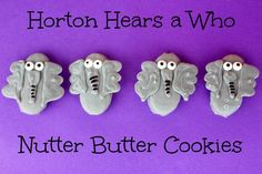 Horton Hears a Who Nutter Butter Cookies recipe - Great for Dr Seuss fans! Nutter Butter Cookie Recipe, Cookie Recipes, Roll Cookies, Yummy Cookies, Vienna Fingers, Refrigerator Cookies, Horton Hears A Who, Elephant Cookies, Homemade Cookies