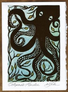Items similar to Linocut Octopus's Garden Greeting Card on Etsy Stamp Printing, Screen Printing, Kraken, Cthulhu, Linocut Prints, Art Prints, Block Prints, Illustrations, Illustration Art