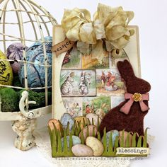 Vintage Muse Designs: Easter Eggs and an Easter Card! using Tim Holtz, Ranger, Idea-ology, Sizzix and Stamper's Anonymous products; Apr 2015