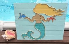 Handmade Mermaid Beach Pallet Art Coastal Decor by BeachByDesignCo