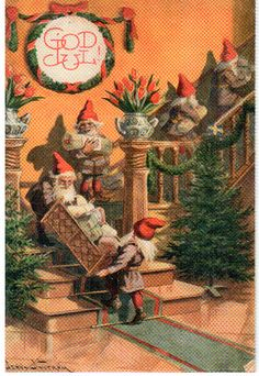 Elves Gnomes Decorate for Holidays Jenny Nystrom Holiday Christmas Counted Cross Stitch or Counted Needlepoint Pattern Merry Christmas, Christmas Gnome, Vintage Christmas Cards, Vintage Holiday, Christmas Pictures, Christmas Holidays, Christmas Tables, Holiday Fun, Norwegian Christmas