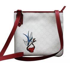 Gorgeous Gucci White Canvas Handbag Heart Bird Tatto Cross Body Messenger Bag.. Available at Brandinia.com