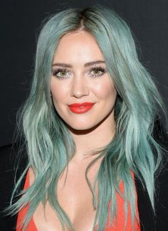 The ocean was the inspiration for Hilary Duff's aqua/blue hair color.