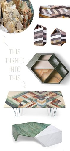 Budri 'earthquake' series - damaged slabs of marble and stone turned into patchworked pieces of furniture art!