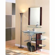 Glass Bathroom Vanity with Open Shelves