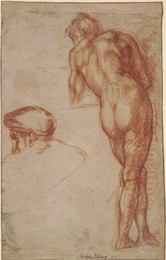 Andrea del Sarto (Andrea d' Agnolo), 1486-1530, Italian, Study of a nude man, seen from behind, and a separate study of his head wearing a cap; 1501-1531. Red chalk, with some black chalk, 27.9 x 17.7 cm. British Museum, London. High Renaissance.