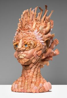 Humanoid busts and portraits made entirely from discarded children's plastic dolls | Creative Boom