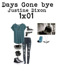 """""Days gone Bye"" Justine Dixon- TWD"" by j-j-fandoms ❤ liked on Polyvore featuring WithChic, Madewell, Converse, Black and Journee Collection"