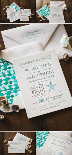 Letterpress Wedding Invitation: Seaside Beach Invitation