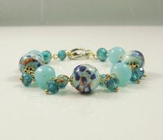 Wholesale-Handmade charming blue crackle glass beads bracelet,personalized,bangle,charm,beadwork,friendly(SL153) on Etsy, $5.30