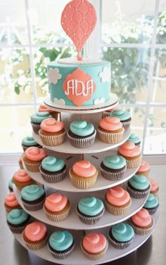 HOT AIR BALLOON CAKE & CUPCAKES TOWER by Half Baked Co. #hot #air #balloon #cake