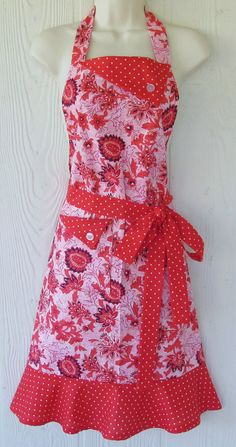 Pink and Red Floral Apron  Retro Style  Women's by KitschNStyle