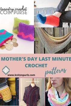 Free crochet patterns for Mother's Day gifts that are easy enough for beginners to make. Fast crochet pattern round up with many DIY gift ideas for moms. Quick Crochet Patterns, Fast Crochet, Crochet Home, Crochet Gifts, Crochet Yarn, Knitting Patterns, V Stitch Crochet, Crochet Coin Purse, Holiday Crochet