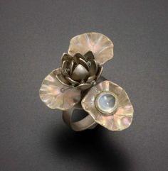 Lotus ring with a moon stone and Japanese patina by KAZism on Etsy, (C) Kazuhiko Ichikawa