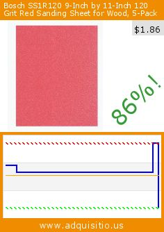 Bosch SS1R120 9-Inch by 11-Inch 120 Grit Red Sanding Sheet for Wood, 5-Pack (Tools & Home Improvement). Drop 86%! Current price $1.86, the previous price was $13.56. http://www.adquisitio.us/bosch/ss1r120-9-inch-11-inch