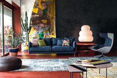 Gentry sofa by Patricia Urquiola; Akari table lamp by Isamu Noguchi (circa 1951); Take Two Line armchair by Alfredo Häberli.