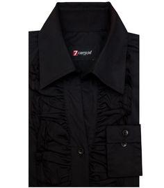Shirt Woman long sleeve Whitout Button Slim stretch poplin full color Black