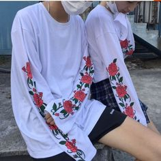 Harajuku fashion rose printed long sleeve t-shirt SE10453