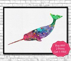 Narwhal Watercolor Print Narwhal Illustration Wall Hanging Giclee Wall Art Home Decor Watercolor Sea Animal Art Narwhal Poster Marlin Art