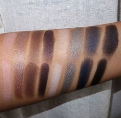 NARS Dual Intensity Eyeshadow Palette swatches dry (top row) and wet (bottom row).