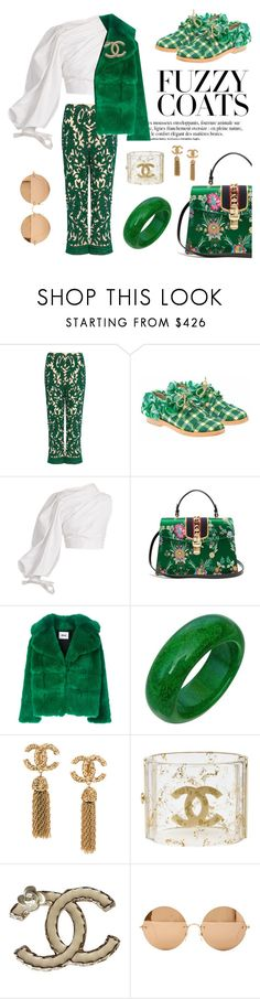 """go for green"" by pensivepeacock ❤ liked on Polyvore featuring Ganni, Anouki, Jacquemus, Gucci, Anja, MSGM, Chanel and Victoria Beckham"