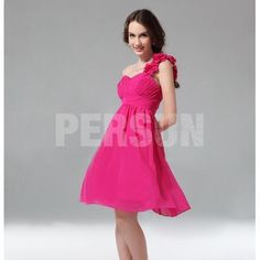 A-line One Shoulder Ruched Flower Knee Length Homecoming Dress   Now Price: US$ 79.99   http://www.persundresses.com/aline-one-shoulder-ruched-flower-knee-length-homecoming-dress-p-5413.html