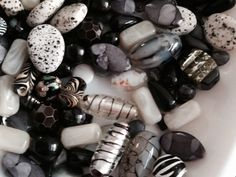 China glass and agate....plus plus fun shades of grey, black and brown and white....they so go together.