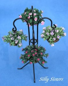 Hanging Basket Stand With Plants   These Miniatures Are Wonderful