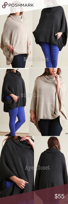 Plus size oversized poncho cape style sweeter sexy Plus size Oatmeal or Deep Charcoal Oversized loose fit stunning poncho cape settle cowl neck sweater cardigan.  Sexy Coverup. Pairs with jeans , basic leggings and sexy leathers leggings. Fabric content : cotton 60% and 40% spandex. Medium weight  comfy fabric. New.retail item. ‼️Price is firm unless bundled‼️ Boutique Sweaters Shrugs & Ponchos