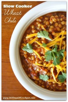 """365 Days of Slow Cooking: Recipe for Slow Cooker Wheat Chili (a good """"gone all day"""" recipe)"""
