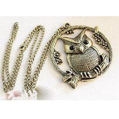 Women's Retro Owl Tree Flower Necklace – USD $ 5.94