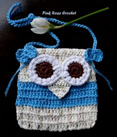 PINK ROSE CROCHET: Bolsinha Coruja Azul Owl Purse