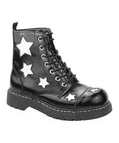 Loving this T.U.K. Black & White Stars Leather Combat Boot on #zulily! #zulilyfinds