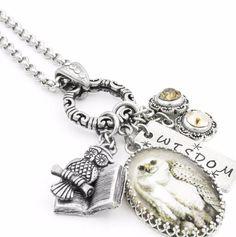 Silver Owl Necklace, Silver Owl Jewelry, Owl Pendant, Snow Owl Charm Necklace, The Snow Owl Owl Jewelry, Charm Jewelry, Charm Necklaces, Charm Bracelets, Jewelry Shop, Jewlery, Bracelet Charms, Antique Jewelry, Fine Jewelry