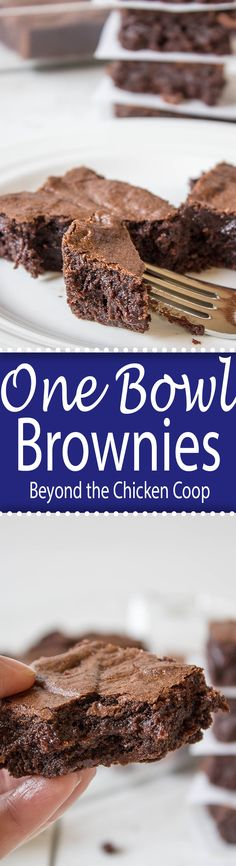 One bowl fudgy brownies. Two kinds of chocolate for double the goodness!