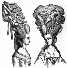 Hair reaches its maximum height in the 1770s. It is a towering structure adorned with feathers, jewels, birds, ribbons, and just about anything a lady could perch on top of her head. Women (with the help of some really creative hair dressers) supplemented their own hair with pads (rats) and false hair building the hair up and creating gravity defying up sweeps.