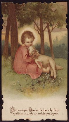 God Jesus, Good Shepherd, give the innocence that creates happiness. With an everlasting love I have loved you and drawn you. Catholic Prayers, Catholic Art, Religious Art, Roman Catholic, Religious Pictures, Jesus Pictures, Image Jesus, Vintage Holy Cards, Mary And Jesus
